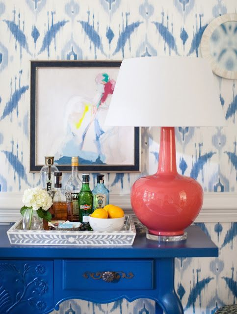 painted console, coral lamp, island ikat wallpaper, nude painting, bar, , jamie meares design