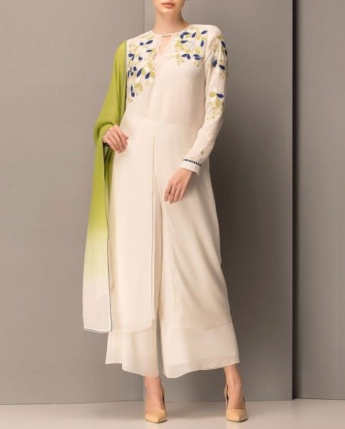 Embroidered Ivory Kurta Set with Ombre Dupatta