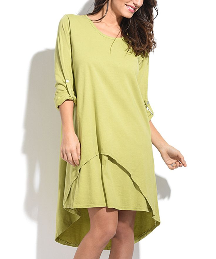 Take a look at this Maille Girl Green Tab-Sleeve Hi-Low Dress today!