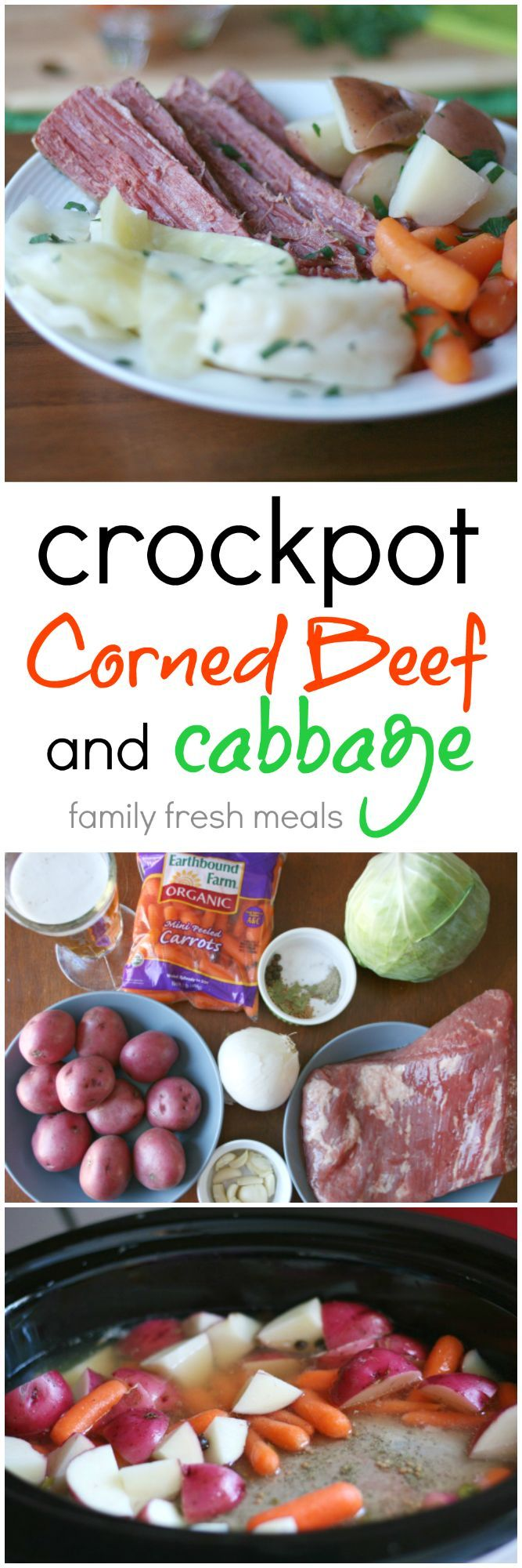 Crockpot Corned Beef and Cabbage Recipe - Never made corned beef and cabbage? Don't worry, this recipe is goof-proof! FamilyFreshMeals.com