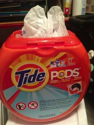 Use a Tide Pods container as a plastic grocery bag dispenser {featured on Home Storage Solutions 101}