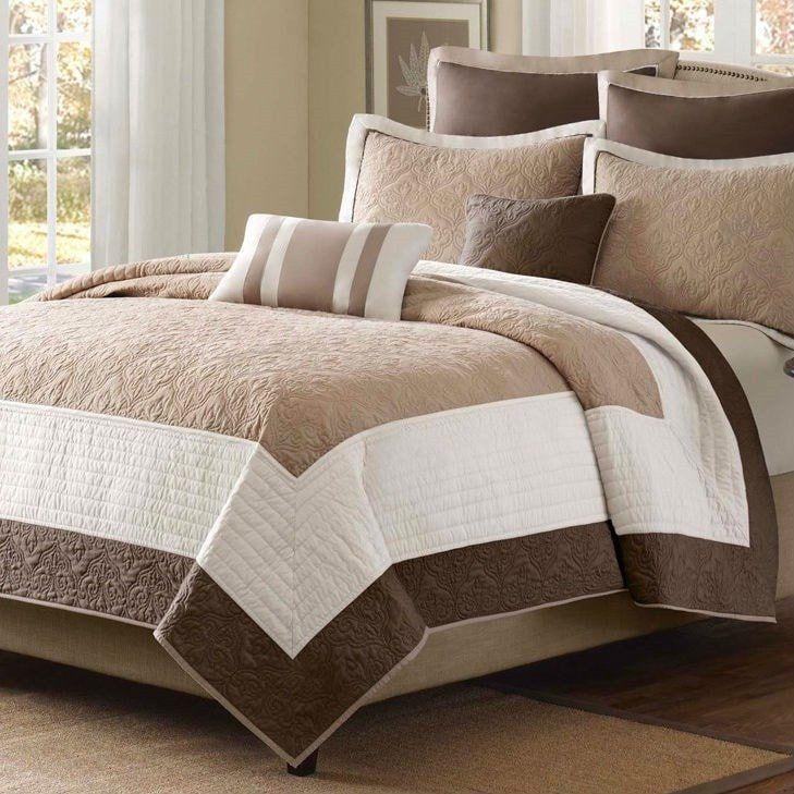 Full / Queen Brown Ivory Tan Cream 7 Piece Quilt Coverlet Bedspread Set