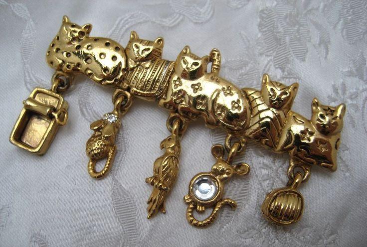 Vintage 1980s Goldtone CAT Lover Charm Bar Brooch AJC Make USA Vintage  #AJC