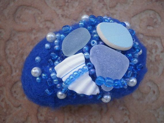 Sea glass beaded felted stone blue felted stone by thalasseaglass, $25.00