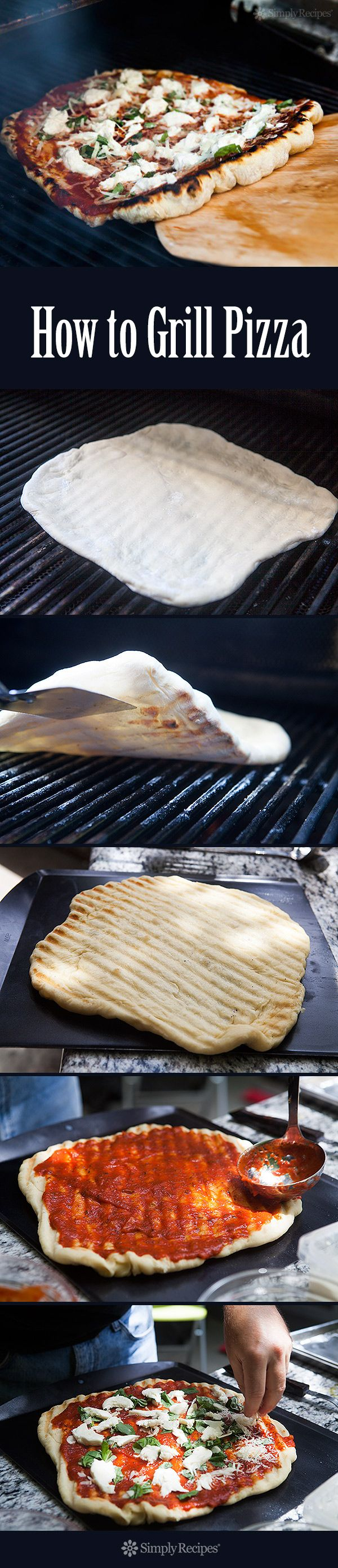 Grilling pizza is the easiest way to make pizza, and you get that great grilled flavor too. NO, the dough does not fall through the grates! See the step-by-step instructions on SimplyRecipes.com #MemorialDay #LaborDay