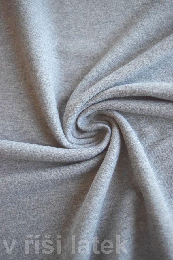 Teplákovina elastická počesaná šedý melír - http://vrisilatek.cz/produkt/teplakovina-elasticka-sedy-melir/