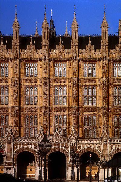 A side view of the Houses of Parliament, Palace of Westminster, London, England by David Henry