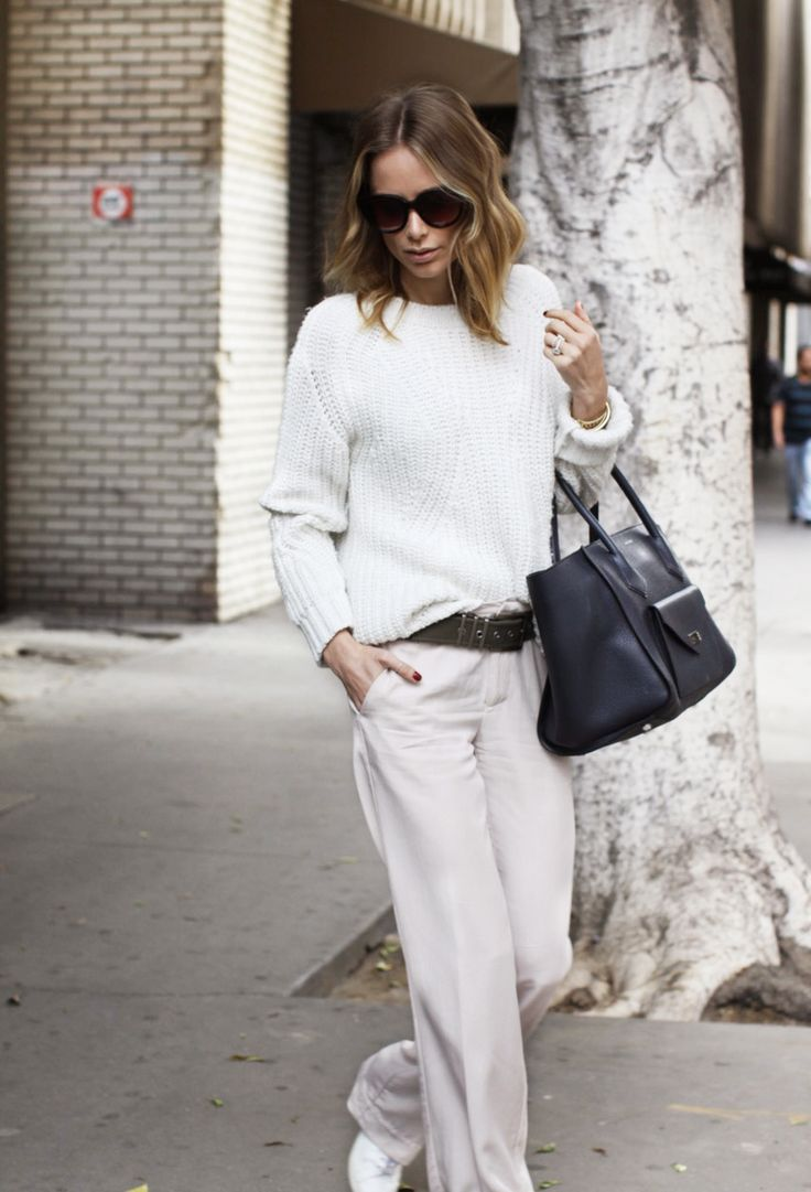 S A N D + W H I T E // ANINE BING pants – ANINE BING sneakers – ANINE BING knit – ANINE BING Navy Madison bag – ANINE BING Canvas belt – ANINE BING Florence sunglasses /