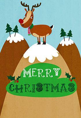 """Reindeer"" printable card. Customize, add text and photos. print for free! #printable #diy #christmas ##christmascard ##christmascardsdiy #freechristmascards #christmascardsideas #christmascardtemplate #customizechristmascard #freeprintable #freetemplates"