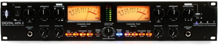 2-channel Tube Microphone Preamplifier with 48V Phantom Power, Selectable Input Impedance, 24-bit/192kHz A/D Converter, Analog and Digital Outputs, VU Metering, and Word Clock I/O