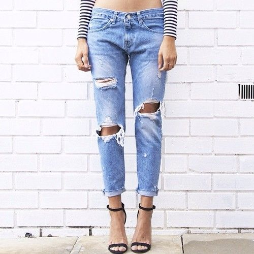 ripped jeans  heeled sandals