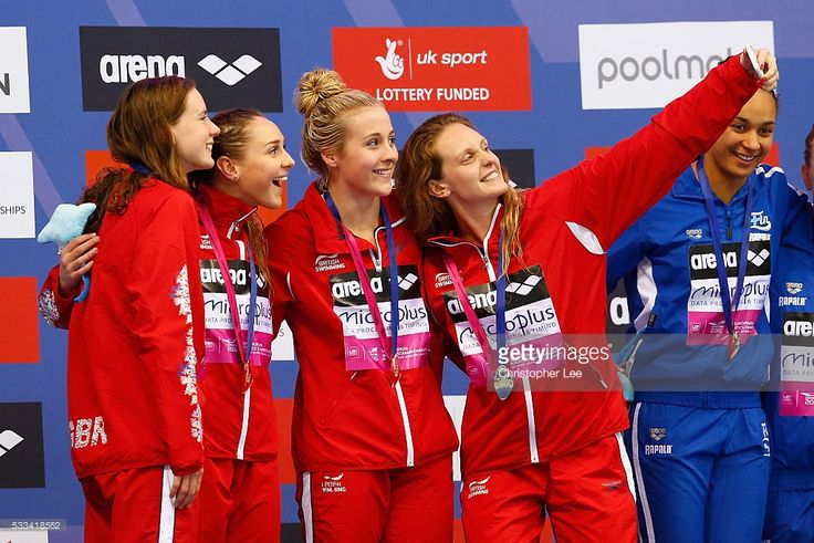 Francesca Halsall, Siobhan-Marie O'Connor, Chloe Tutton and Kathleen Dawson of Great Britain celebrate winning the Women's 4x100m Medley Final with their gold medals during Day 14 of the 33rd LEN European Swimming Championships 2016 at Aquatics Centre on May 22, 2016 in London, England.