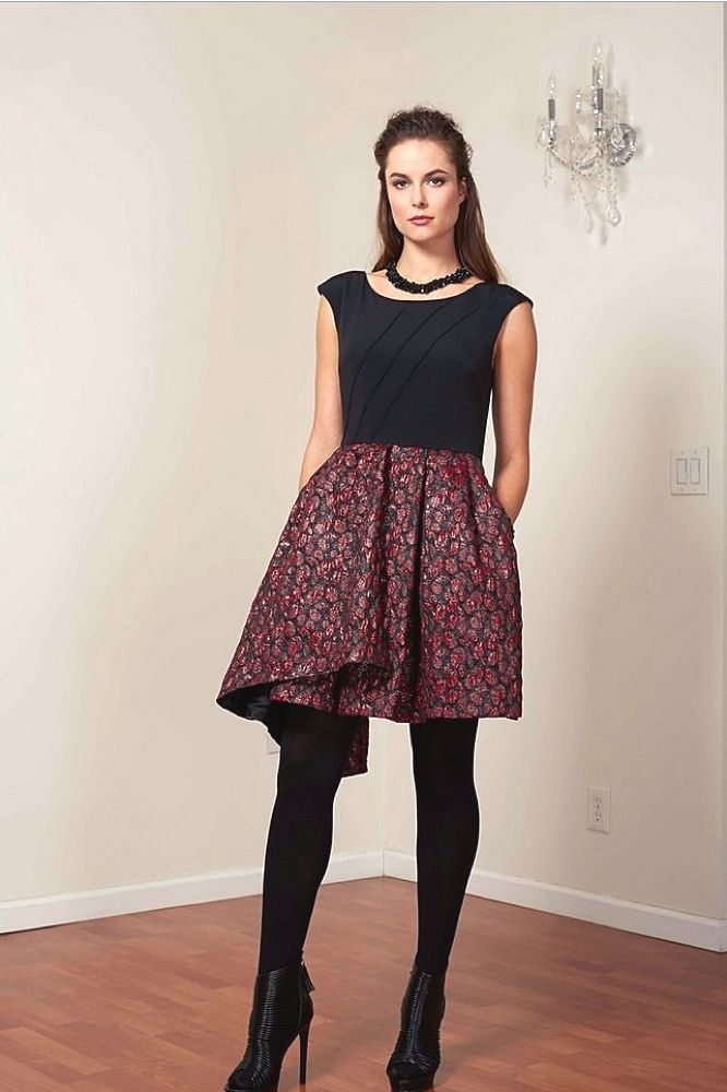 BRADLEY SCOTT  Pleated Crepe Dress with Party Style Skirt