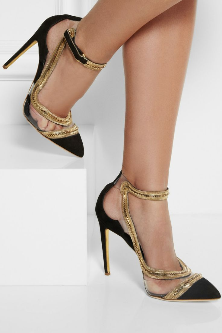 Sexy Black And Gold Heels