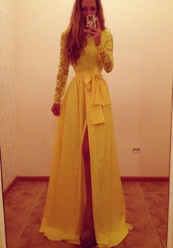 Yellow Patchwork Ruffle Belt Dress - Maxi Dresses - Dresses
