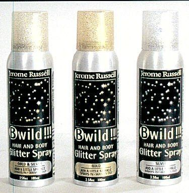 B Wild Hair And Body Glitter Spray In Gold by B Wild. $5.95. Spray on Hair & Body Glitter Spray. Made from the finest glitter, it may be used on the hair, skin or clothing for a stunning effect. Washes out easily.