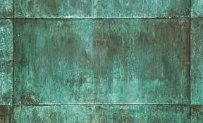 copper verdigris - Google Search. Copper used outside would gradually develop a green colour. Nice on roof tiles, planters or tiles round a pond?