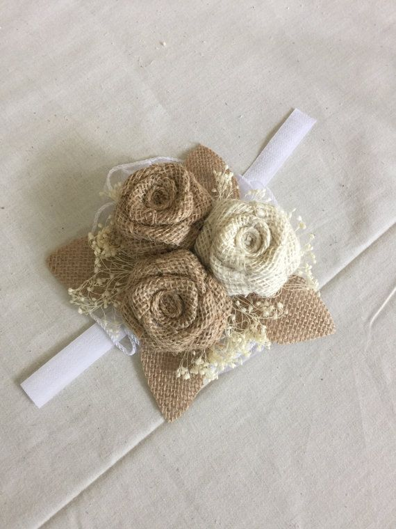 Burlap Corsage featuring 2 natural and 1 ivory flower. Great eco friendly piece.