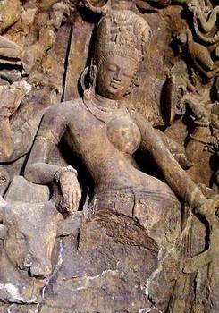 transgender shiva in the Elephanta caves on Elephanta Island, India