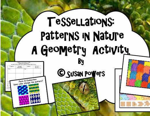 This is a great activity to use to reinforce children's understanding of tessellations. With clear and simple instructions and very simple materials, create colourful tessellations.   This packet includes a brief lesson, with the math vocabulary, examples of tessellations seen in nature and within art.