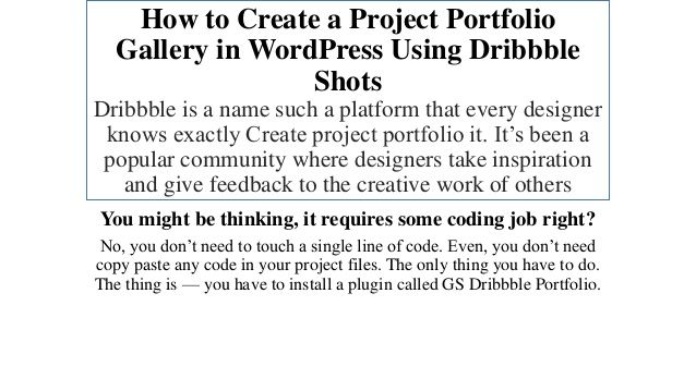 Create a Project Portfolio Gallery in WordPress Using Dribbble Shots