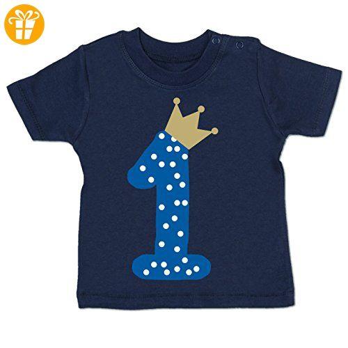 Geburtstag Baby - 1. Geburtstag Krone Junge Erster - 12-18 Monate - Navy Blau - BZ02 - Kurzarm Baby-Shirt für Jungen und Mädchen - T-Shirts mit Spruch | Lustige und coole T-Shirts | Funny T-Shirts (*Partner-Link)