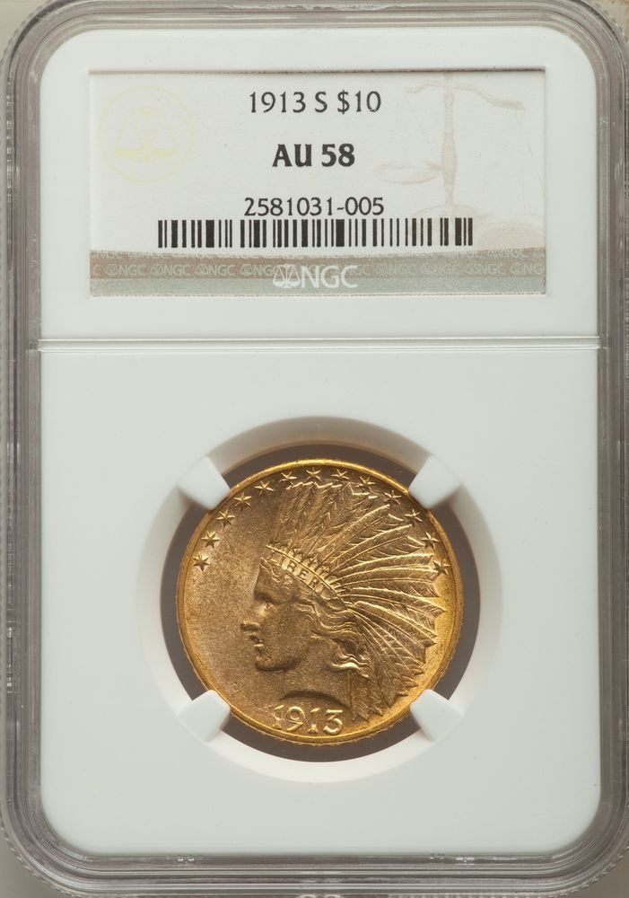 1913 S Us Gold 10 Indian Head Eagle Ngc Au58 Goldcoins Coins Gold Coins For Sale Gold Eagle Coins Gold Coins
