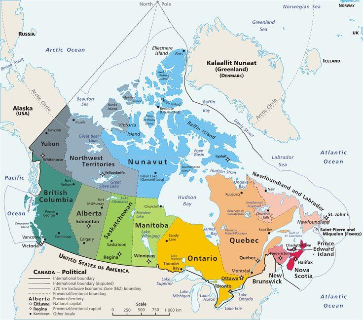 Geopolitical map of Canada - Geography Cycle 1 Weeks 21 & 22 (Ontario, Quebec, New Brunswick, Nova Scotia, Great Bear Lake, Great Slave lake, Hudson Bay, Baffin Bay, Labrador Sea).