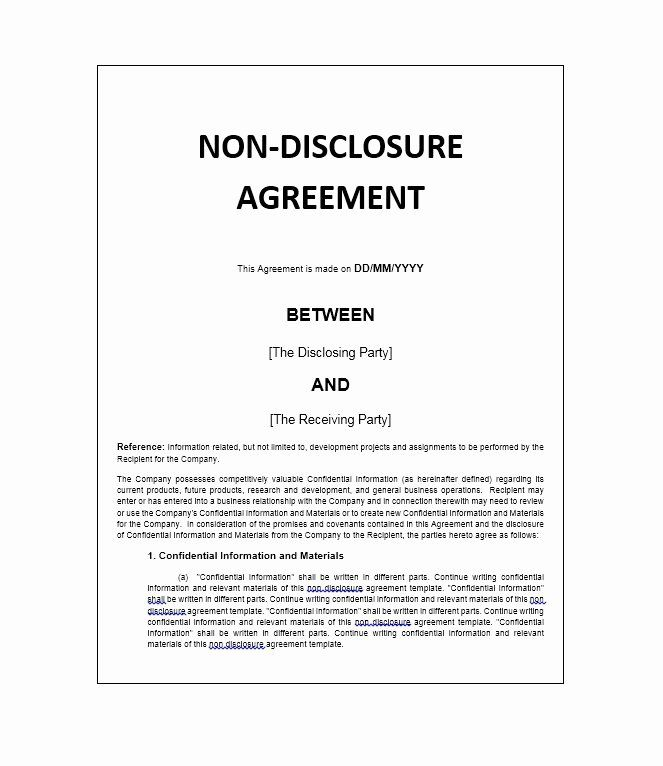 Confidentiality Agreement Template Word Best Of 40 Non Disclosure Agreement Templates Samples Non Disclosure Agreement Newsletter Design Templates Agreement