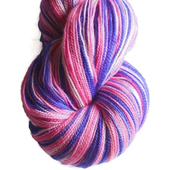 "Hand Dyed Superwash Merino Wool Lace Yarn, 2-ply Self- Striping Pink and Purple ""Flower Power"" - Hand Dyed Lace Yarn-Handdyed Wool"
