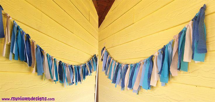 Cortina de tiras de tela. myvioletdesigns.com