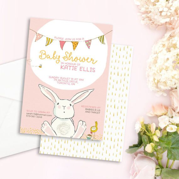 Bunny Baby Shower Invitation - Pink Baby Shower Invite - Bunny Baby Shower - Rabbit Baby Shower - Girl Baby Shower Invitation - Digital File
