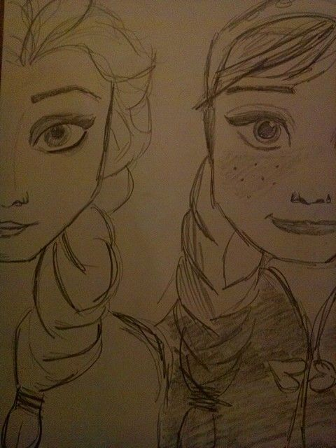 Anna and elsa from Frozen sketch