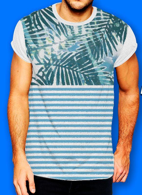 """Playera básica para hombre con estampado de palmas. Da clic en """"visitar"""" y compra ahora. #palmas #playa #rayas #idinkclothing #tuestilomarca #sublimado #playera #moda #hombre #modahombre #consumelocal"""
