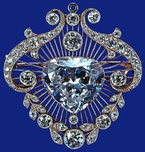 The unusual heart-shaped diamond of 18.8 carats, given by the Government of South Africa to Queen Mary in 1910