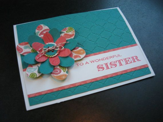 Handmade Birthday Card For Sister Thank You Thinking Of