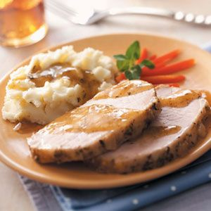 Pork Roast with Mashed Potatoes and Gravy Recipe | Taste of Home Recipes