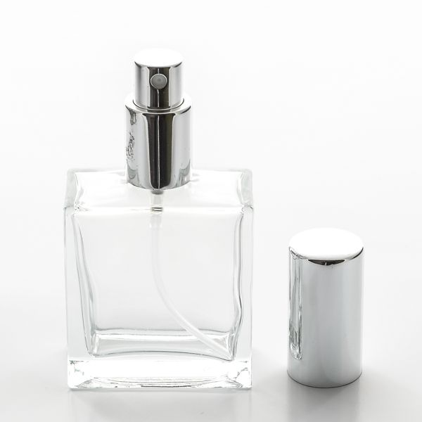 1 7 Oz 50ml Square Flint Glass Bottle Heavy Base Bottom With Fine Mist Spray Pumps