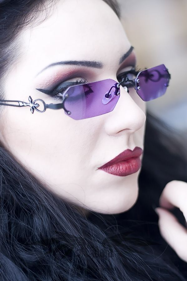 purple vampire sunglasses Gothic Fashion   goth gothic style fashion girl women https://www.facebook.com/alternativestylepolska #gothicmakeup