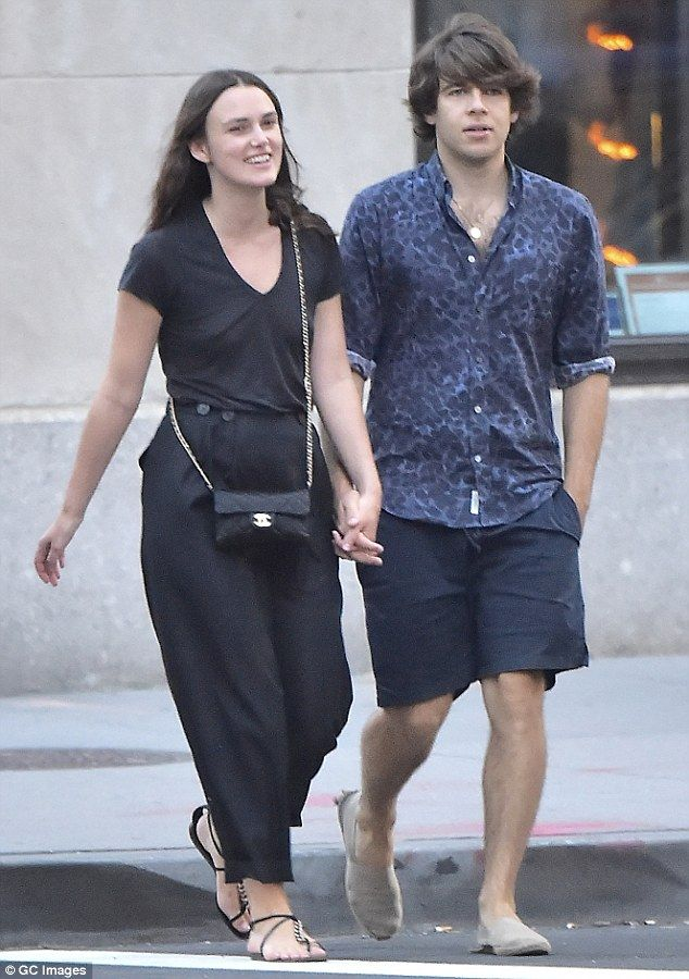 Happy couple: Keira Knightley and husband James Righton looked loved up as ever as they took a stroll in New York on Thursday