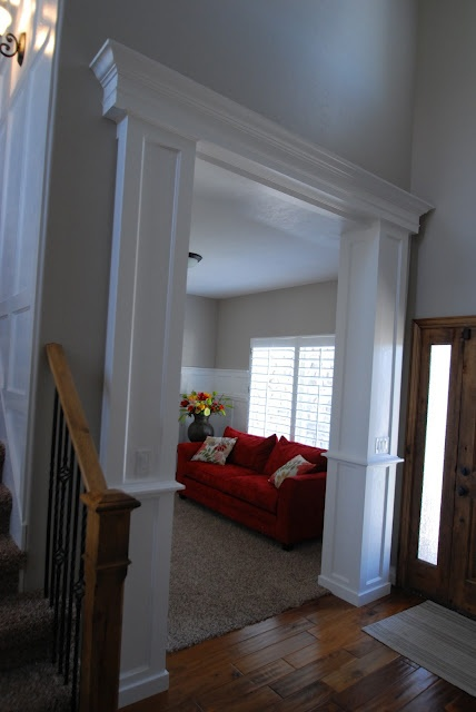 Wrapped columns and header foyer side home pinterest for Interior window crossheads