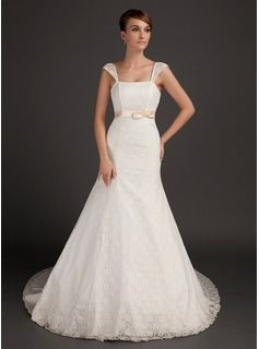 Trumpet/Mermaid Chapel Train Satin Lace Wedding Dress With Sash Bow(s)