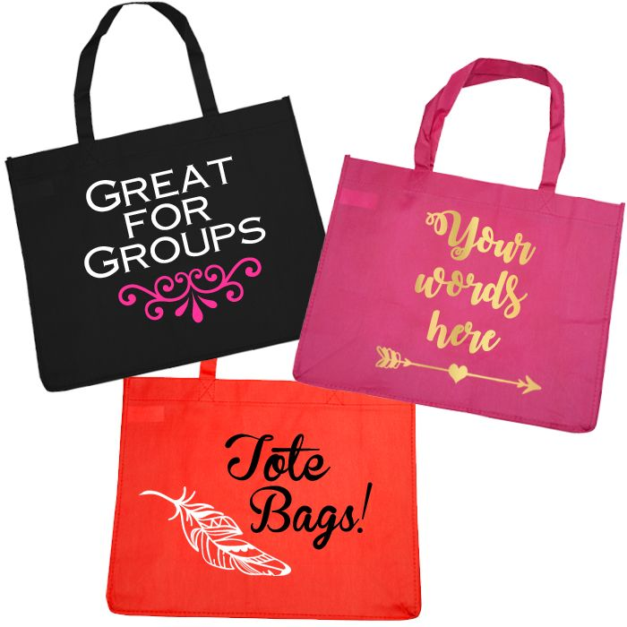 Custom Budget Tote Bags Nonwoven Tote Bags that are affordable enough for all your girlfriends! Type your custom text into the text field and we'll create your Tote Bags with your selection of ...
