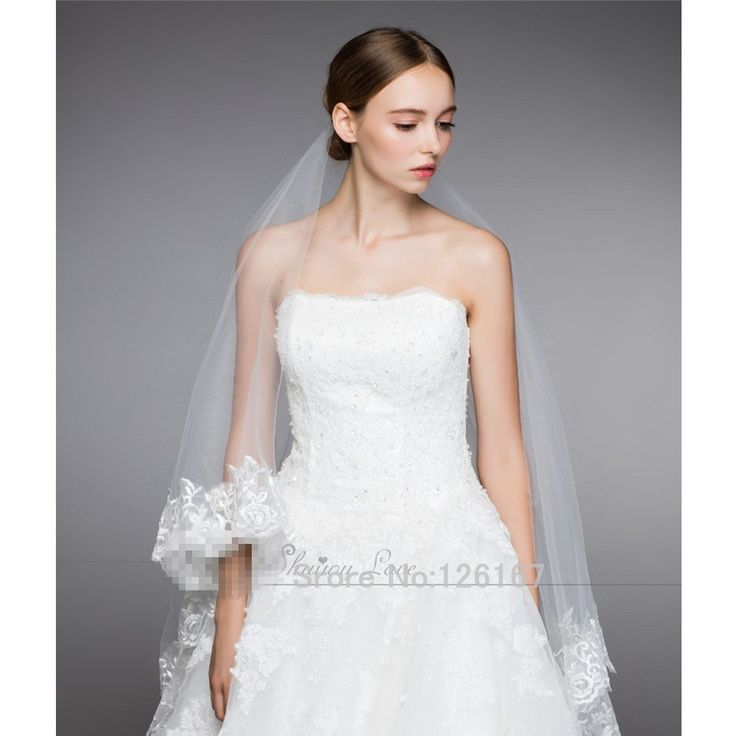 Accessori da sposa Bianco Appliqued Bordo veli Da Sposa Lunghi 2017 nuovo arrivo noble a due strati velo da sposa veli da sposa CGV001