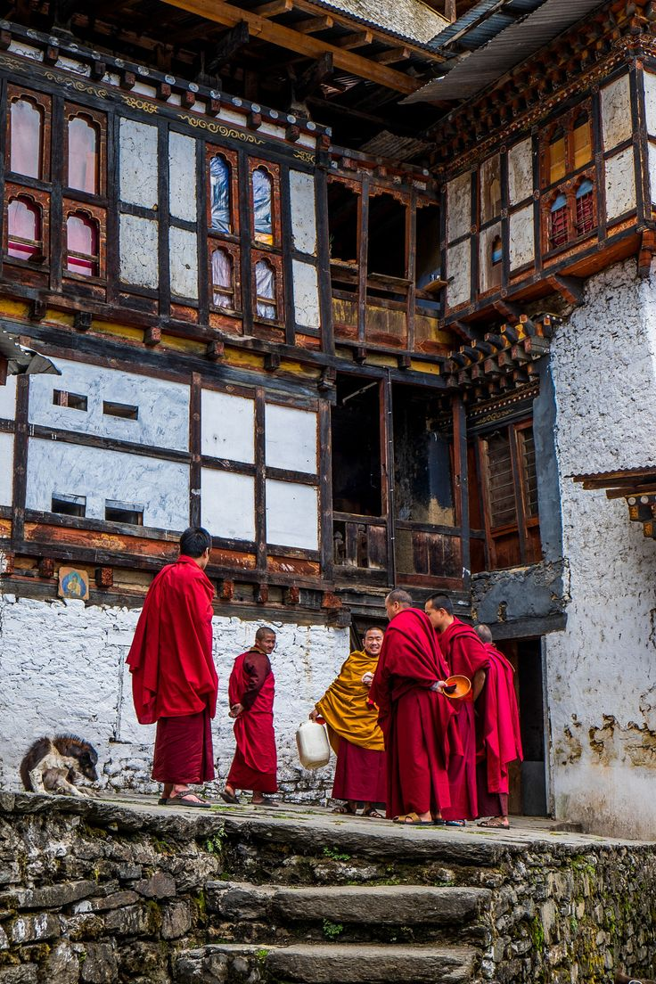 Monks congregating . Chagri Monastery . Bhutan