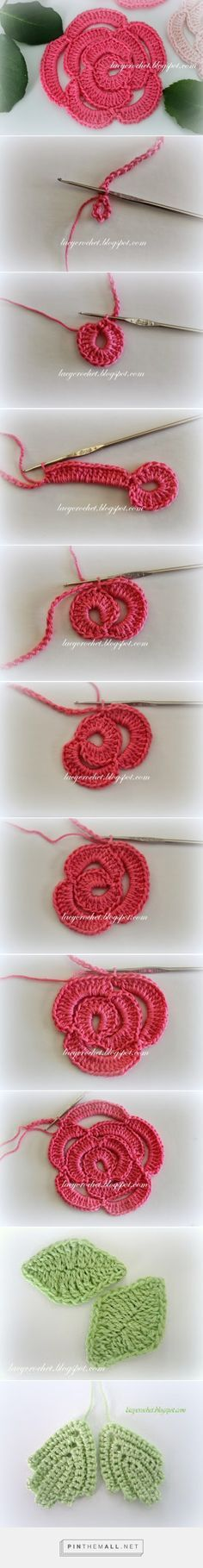 Lacy Crochet: Crochet Flowers - Rosa created via http://pinthemall.net