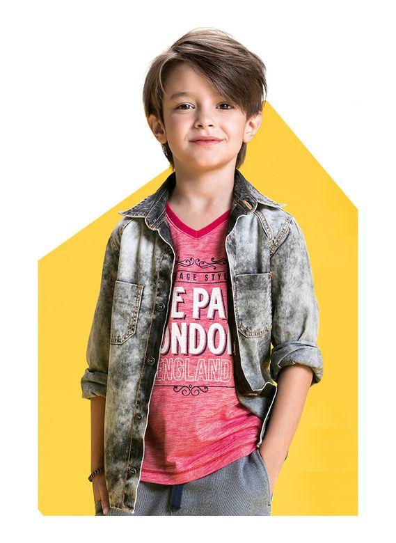 Camisa Jeans Infantil Masculina Com Bolsos E Lavação De Desgaste Puc