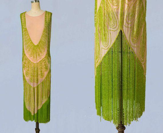 SELTENE 1920er Jahre Kleid / 20 s Flapper Kleid Perlen / Fringe / Rosa und grün / M-L
