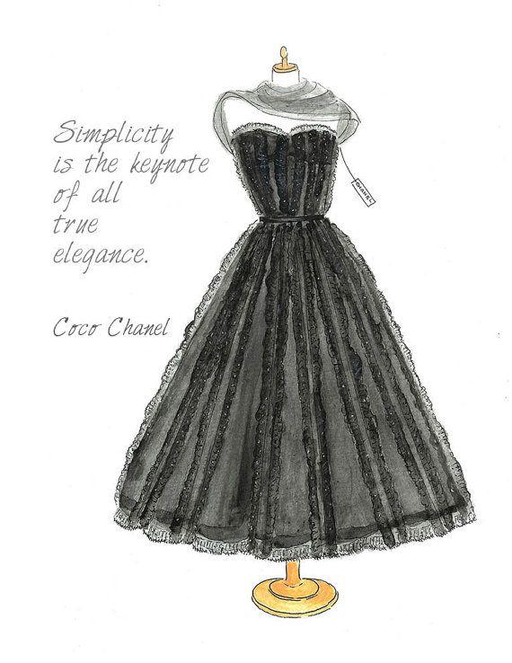 Watercolor Little Black Dress Fashion Illustration 1950 by Zoia, $15.00