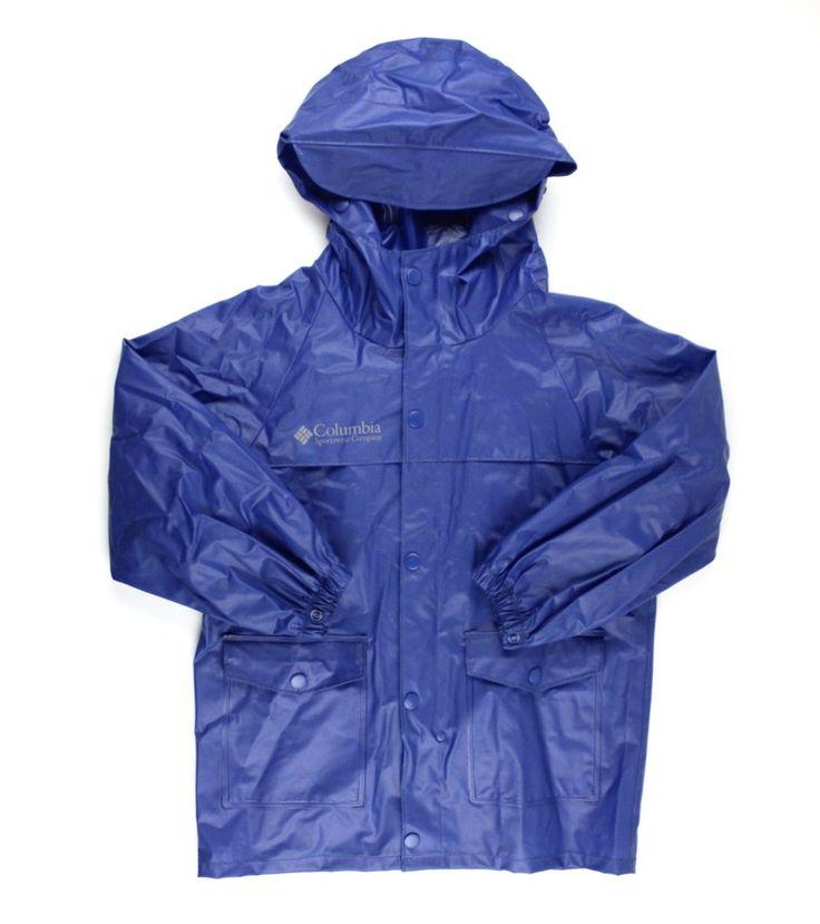 Columbia rain slicker, blue rain jacket, raincoat for boys, Columbia outerwear, rain jacket for boys